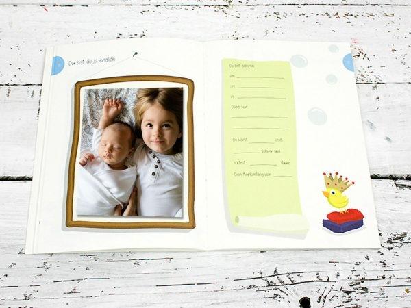 Babytagebuch, Babyalbum für die erste Zeit mit Baby, geschlechtsneutrale Illustration, Kleinauflage, klimaneutrale Produktion