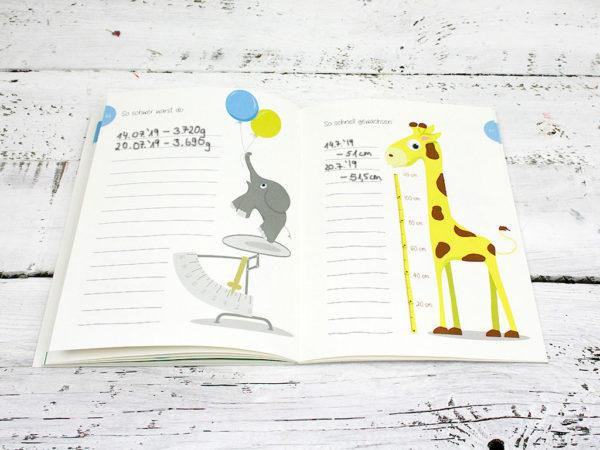 Babyalbum, Tagebuch für die erste Zeit mit Baby, geschlechtsneutrale Illustration, Kleinauflage, klimaneutrale Produktion