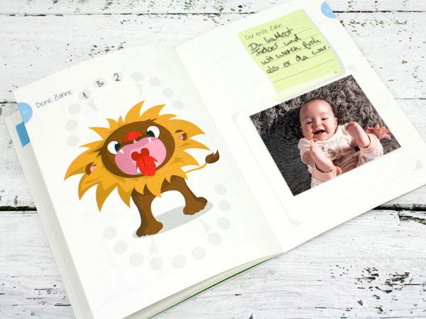 Babyalbum, Tagebuch für die erste Zeit mit Baby, geschlechtsneutrale Illustration, Kleinauflage, klimaneutrale Kleinserie