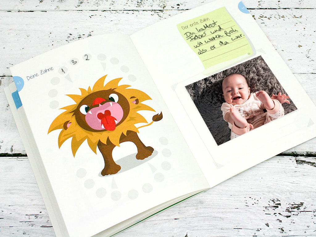 Geschenk zur Geburt Babytagebuch mit 46 Innenseiten zum Ausf/üllen und Platz f/ür Fotos Babyalbum DIN A5