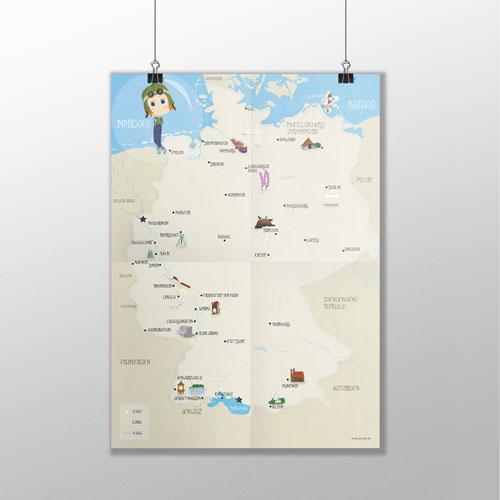 Deutschlandkarte Illustriert Fur Kinder Pinipas Abenteuer