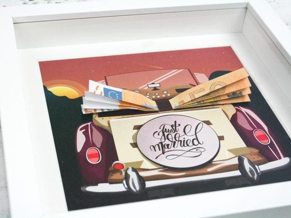 Geldgeschenk zur Hochzeit, gerahmt, Illustration Oldtimer,Hochzeitsgeschenk Idee, Geschenk brautpaar, Geldgeschenk