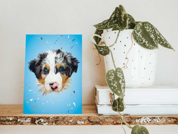 Berner Sennenhund Postkarte, Tierportrait im Lowpoly-Stil, Illustration von Annika Kuhn, klimaneutral und in Kleinserie produziert
