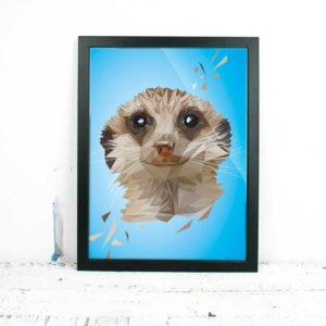 Erdmännchen Art Print, Tierportrait im Lowpoly-Stil, Illustration von Annika Kuhn, klimaneutral und in Kleinserie produziert