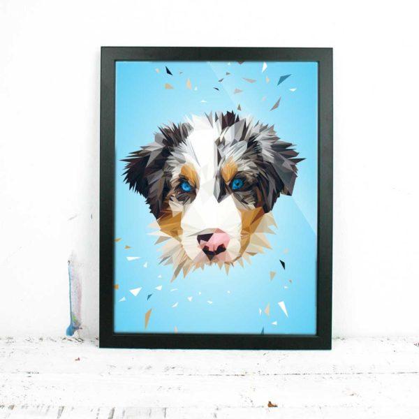 Berner Sennenhund Art Print, Tierportrait im Lowpoly-Stil, Illustration von Annika Kuhn, klimaneutral und in Kleinserie produziert