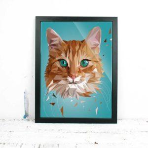 Katze Art Print, Tierportrait im Lowpoly-Stil, Illustration von Annika Kuhn, klimaneutral und in Kleinserie produziert