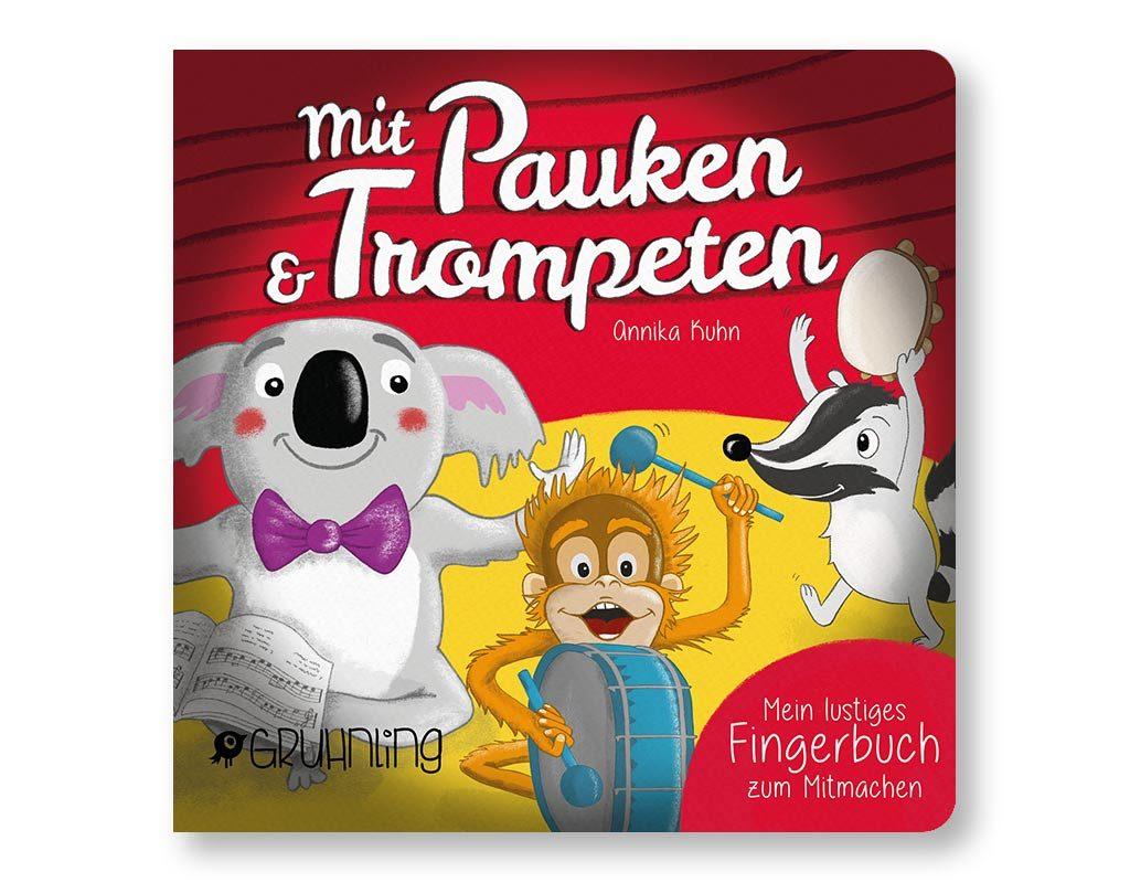"""Fingerspielbuch """"Mit Pauken und Trompeten"""", musikalisches Pappbilderbuch, Gruhnling Verlag Aachen"""