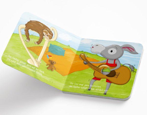 Mit Pauken und Trompeten - das Mitmachbuch zum Fingerdurchstecken vom Gruhnling Kinderbuchverlag, Esel und Faultier