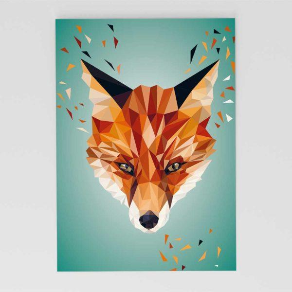 Fuchs Postkarte, Tierportrait im Lowpoly-Stil, Illustration von Annika Kuhn, klimaneutral und in Kleinserie produziert