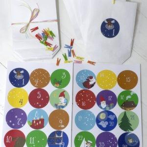 Adventskalender Pinipa, zum Selbstbefüllen, handmade Aufkleber und klimaneutrale Papier-Tütchen