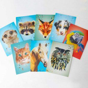 Postkartenset, Tierportraits im Lowpoly-Stil, Illustration von Annika Kuhn, klimaneutral und in Kleinserie produziert