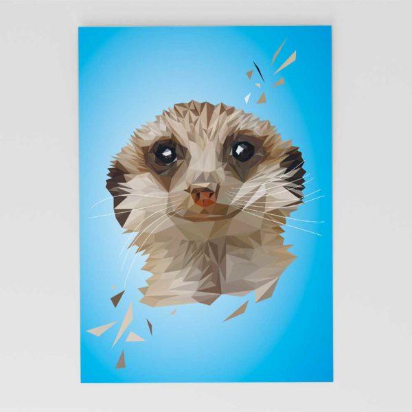 Erdmännchen Postkarte, Tierportrait im Lowpoly-Stil, Illustration von Annika Kuhn, klimaneutral und in Kleinserie produziert