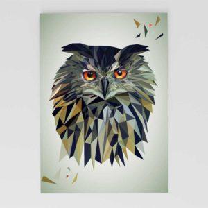 Eule Postkarte, Tierportrait im Lowpoly-Stil, Illustration von Annika Kuhn, klimaneutral und in Kleinserie produziert