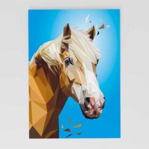 """Pferd """"Hafflinger"""" Postkarte, Tierportrait im Lowpoly-Stil, Illustration von Annika Kuhn, klimaneutral und in Kleinserie produziert"""