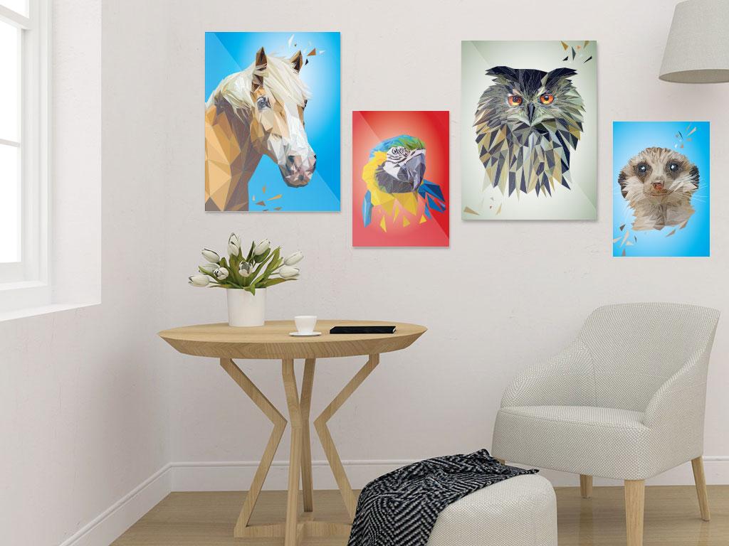 Art Prints, Tierportrait im Lowpoly-Stil, Illustration von Annika Kuhn, klimaneutral und in Kleinserie produziert