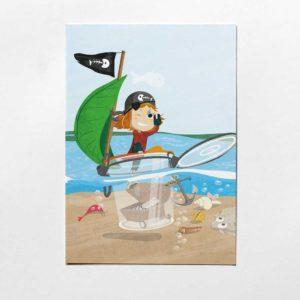 Pinipa Postkarte, Kinderillustration, Piratin aus Pinipas Abenteuer, Illustration von Annika Kuhn, klimaneutral und in Kleinserie produziert