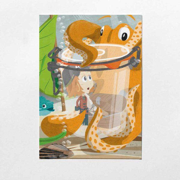 Pinipa Postkarte, Kinderillustration, Piratin mit Krake aus Pinipas Abenteuer, Illustration von Annika Kuhn, klimaneutral und in Kleinserie produziert