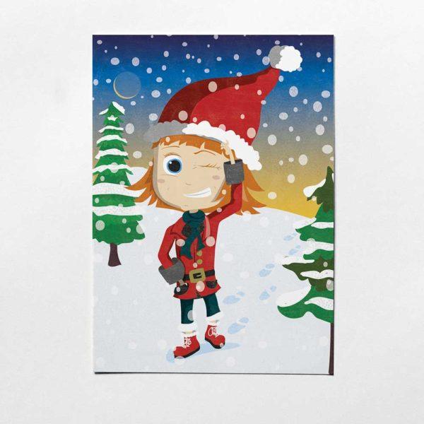 Weihnachtspostkarte, Kinderillustration, Pinipas Abenteuer, Illustration von Annika Kuhn, klimaneutral und in Kleinserie produziert