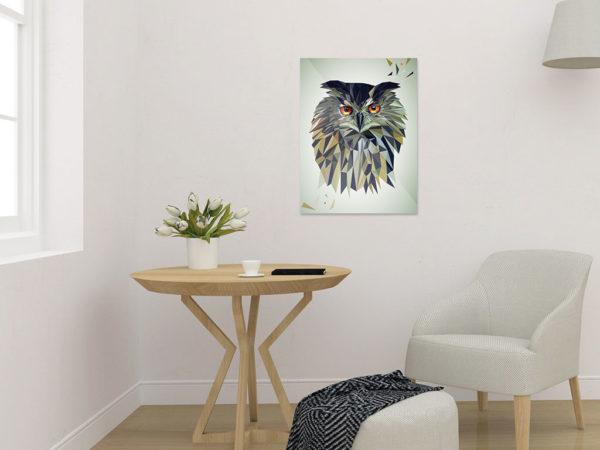 Eule Art Print, Tierportrait im Lowpoly-Stil, Illustration von Annika Kuhn, klimaneutral und in Kleinserie produziert