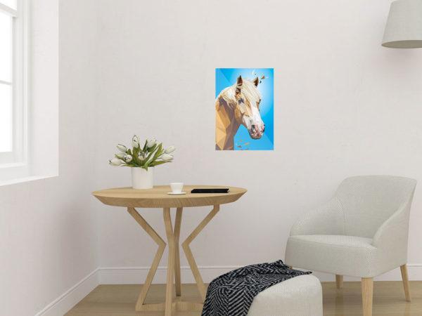 Pferd Art Print, Tierportrait im Lowpoly-Stil, Illustration von Annika Kuhn, klimaneutral und in Kleinserie produziert