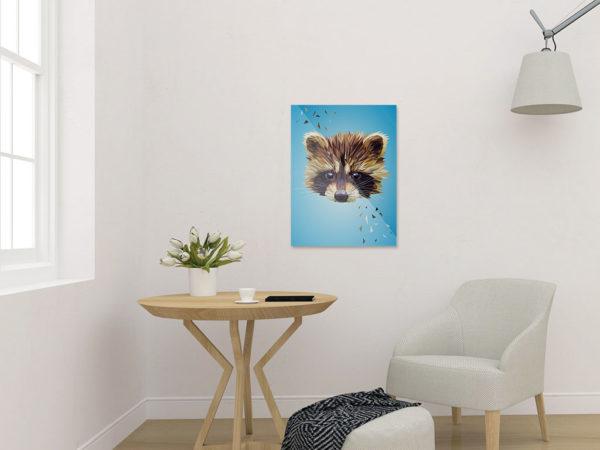 Waschbär Art Print, Tierportrait im Lowpoly-Stil, Illustration von Annika Kuhn, klimaneutral und in Kleinserie produziert