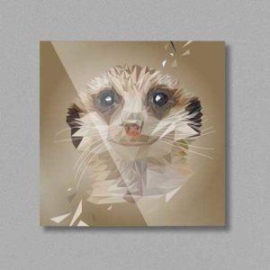 Erdmännchen, Tierportrait im Lowpoly-Stil auf Kühlschrankmagnet, Kleinserie klimaneutral und fair produziert