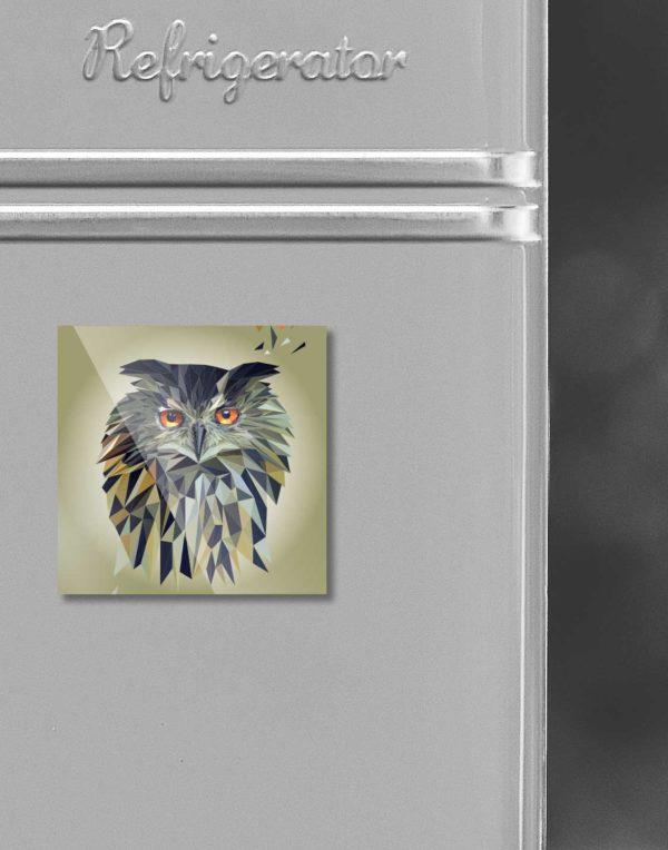 Eule, Tierportrait im Lowpoly-Stil auf Kühlschrankmagnet, Kleinserie klimaneutral und fair produziert