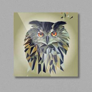 Eule, Tierportrait im Lowpoly-Stil auf Kühlschrankmagnet, Kleinserie klimaneutral und fair produziert, handmade
