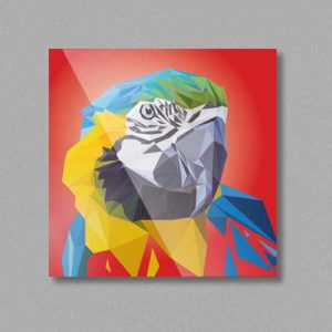 Papagei Tierportrait, Lowpoly-Illustration auf hochwertigem Kühlschrankmagnet in Kleinserie, handmade