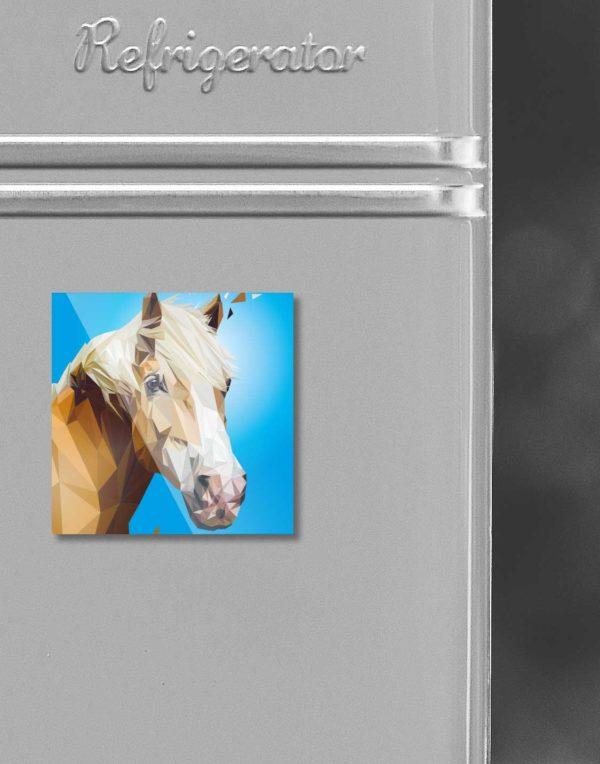 Kühlschrankmagnet Pferd/Hafflinger, Lowpoly-Illustration, Kleinserie