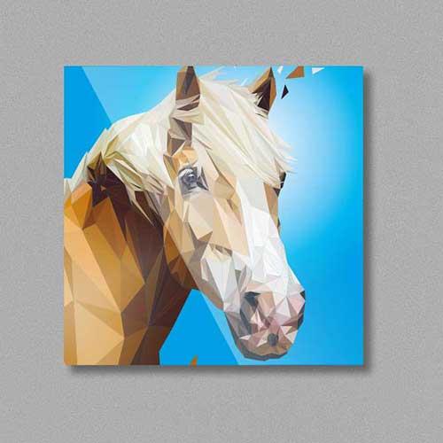 Pferd Kühlschrankmagnet, Hafflinger Illustration im Lowpoly-Stil