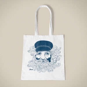 Jutebeutel mit Seemann Motiv, Biobaumwolle im Siebdruck, handmade