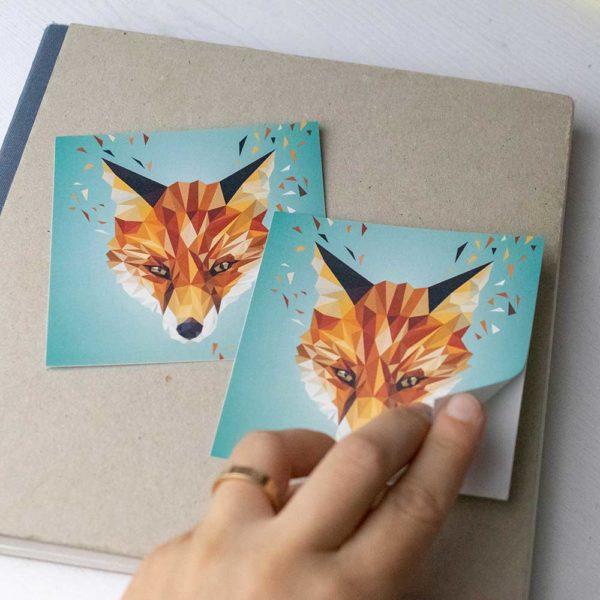 Fuchs Aufkleber, outdoor-geeignet, 10x10cm, lowpoly illustration Fuchsportrait, klimaneutral, handmade und Kleinserie